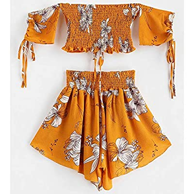 ZAFUL Women's Two Piece Off Shoulder Floral Smocked Crop Top and Shorts Set at Women's Clothing store