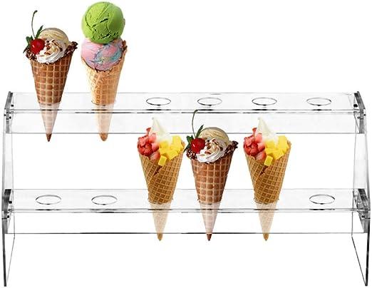 Clear Acrylic 16 Hole Ice Cream// Popcorn Cone Holder Tray Display Stand Shelf