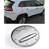 Nicebee Chrome Fuel Filler Oil Tank Gas Cap Cover Trim Garnish for Jeep Cherokee 2014-2017 with Logo