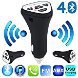 LIPOVOLT Bluetooth Wireless 4.1 Car AUX Stereo Audio Receiver FM Adapter USB Charger A2DP
