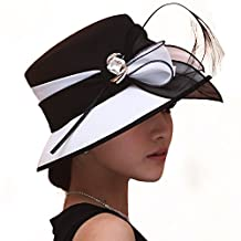 June's Young Women Hat Formal Dress Hat Chiffon Fabric Feather Two Tone Colors