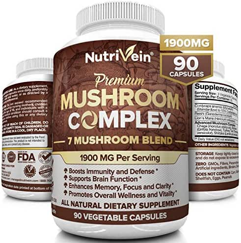 Nutrivein Mushroom Supplement 1900mg - 90 Capsules - 7 Blend Lions Mane, Cordyceps, Chaga, Reishi, Turkey Tail, Maitake, Shiitake - Immune System & Nootropic Brain Booster Complex for Energy & Focus