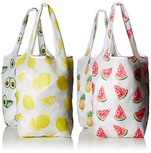 (Carrie Bags Reusable Shopping Bags, Set of 4 Printed Designs, Foldable Grocery Tote Bag with Attached Storage)