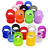"18 Pairs 8g-1"" UV Acrylic Screw Fit Ear Tunnels & Thick Silicone Double Flared Ear Gauge Plugs Expander Piercing (Gauge=7/8""(22mm))"