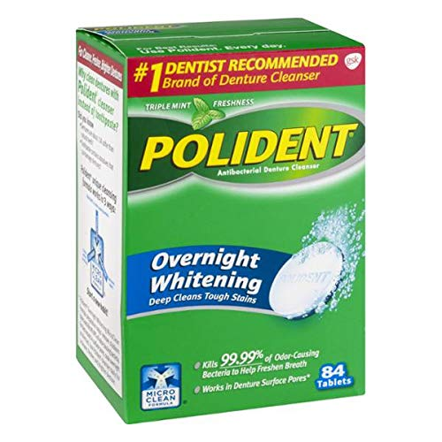 (Polident Overnight Whitening Tablets - 84 ct, Pack of 4)