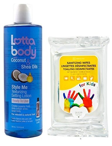 Lottabody STYLE ME Texturizing Setting Lotion with Coconut & Shea Oils 12oz with (Sanitizing Wipes 10ct) by Lottabody