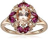 10k Rose Gold Morganite, Rhodolite, and Diamond (1/10 cttw, H-I Color, I2-I3 Clarity) Ring, Size 7