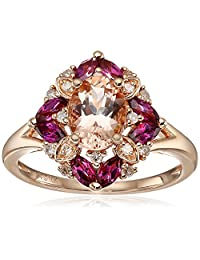 10k Pink Gold Morganite, Rhodolite and Diamond Cushion Ring (1/10cttw, I-J Color, I2-I3 Clarity)