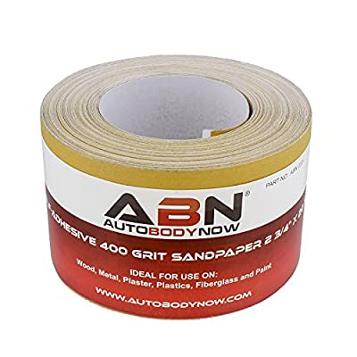 ABN Adhesive Sticky Back 400-Grit Sandpaper Roll 2-3/4in x 20 Yards Aluminum Oxide Golden Yellow Longboard Dura PSA: Automotive