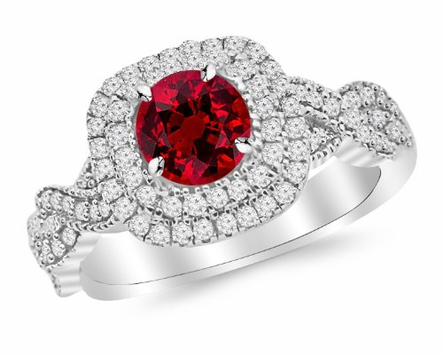 14K White Gold Split Shank Double Row Halo Twisting Diamond Engagement Ring with a 1 Carat Ruby Heirloom Quality Center