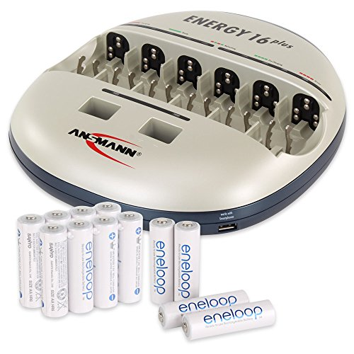 ANSMANN Energy 16 Plus Universal Battery Charger & Maintenance Station for AAA/AA/C/D/9V/USB + Eneloop Rechargeable AA Batteries (12-Pack)