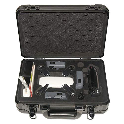 Price comparison product image Quadcopter Kit, Dartphew 1Pcs Fashion Waterproof Carrying Storage Aluminum Case Box for DJI Spark FPV Drone, Retractable - Comfortable Strap, Portable for Outdoors Travel(Two-way zipper) (Black)
