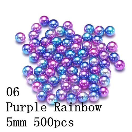 Small Pack No Hole Round Pearls Rainbow Color 3/4/5/6Mm Imitation Beads Earrings Diy Wedding Dress Jewelry Nail Art Decorations