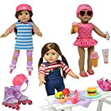 Doll Roller Skates -18 inch Doll Clothes - Doll Accessories Play Set fits American Girl Dolls