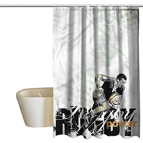 (Denruny Shower Curtains Butterflies Sports,Sketch of a Rugby Player,W55 x L84,Shower Curtain for)