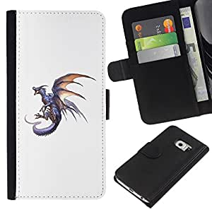 Planetar® Modelo colorido cuero carpeta tirón caso cubierta piel Holster Funda protección Para Samsung Galaxy S6 EDGE / SM-G925(NOT FOR S6!!!) / SM-G925(NOT FOR S6!!!) ( Dragon Grey Fire Flying Wild Mythical Animal )