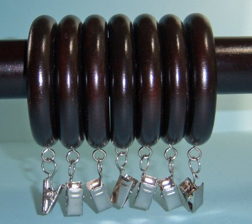 """UPC 027837640469, 1-3/8"""" Solid Wood Drapery Rings with Silver Clips in Dark Chocolate finish [CAPITOL CITY LUMBER]"""