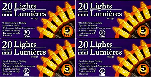4 Pack of Halloween Orange Mini Lights String For Indoor Use 20' Total Great For Party Decorations