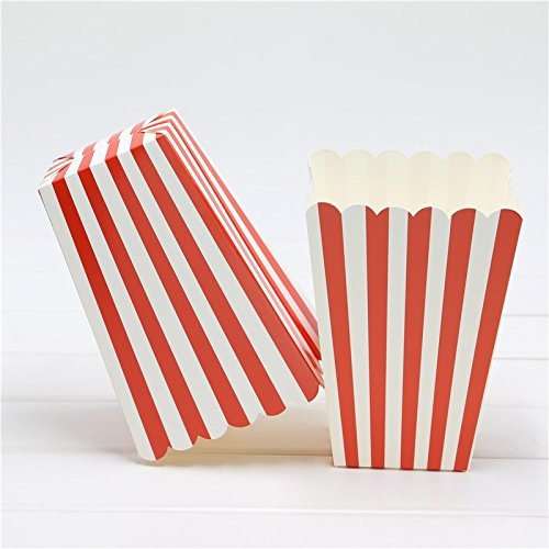 - 12pcs popcorn Boxes/Buckets/Bags (red Stripes)(Party/Food/Retro/Hollywood/Movie/Treat)Birthday Party Favour Paper Bags