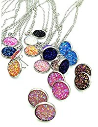 luo 12set/Pack 12colors Jewelry Sets Fashion druzy Necklace Earrings Wedding Party Accessories Women