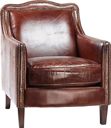 Arm Chair Dovetail Finsbury Antique Brass Top-Grain Leather Hardwood Fram ()