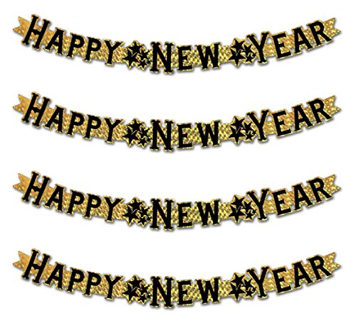 Foil Happy New Year Streamer - Beistle S88936GDAZ4, 4 Piece Prismatic Happy New Year Streamers, 3.5'' x 3' (Gold/Black)