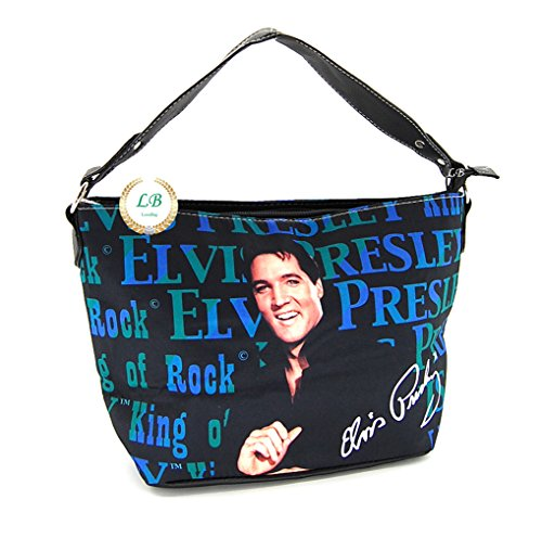 Elvis Presley EB92 Medium Shoulder Bag, Blue Smiling Elvis