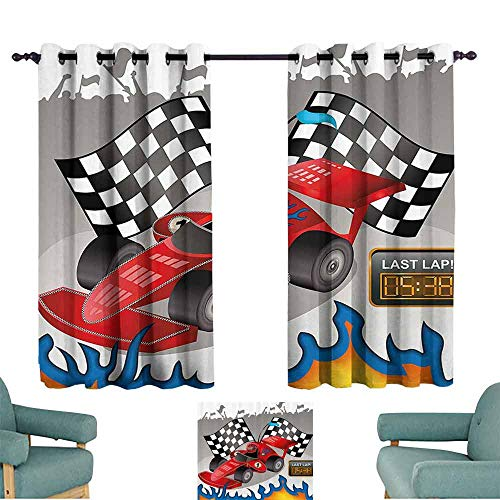 Mannwarehouse Kids Decor Light Luxury high-end Curtains Race Car with Finish Line Flags Pilot and Flames with Abstract Gray Background Suitable for Bedroom Living Room Study, etc.55 Wx72 L Multicolor