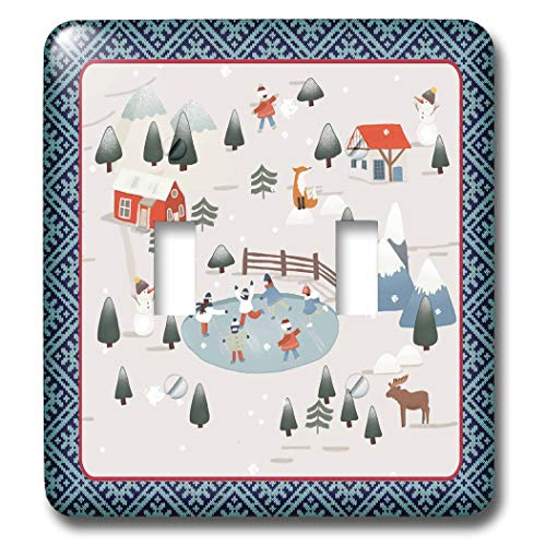 3dRose Beverly Turner Christmas Design - Winter Village, Ice Skaters, Snowmen, Fox, Moose, Homes, and Mountains - Light Switch Covers - double toggle switch -
