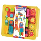 Bristle Blocks by Battat - The Official Bristle Blocks - 75 Pieces in a Storage Bin - Creativity Building Toys for Dexterity and Fine Motricity - BPA Free 2 years + (Renewed)
