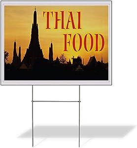 Fastasticdeals Weatherproof Yard Sign Thai Food Restaurant Cafe Bar C Red Lawn Garden 24x18 Inches 2 Sides Print