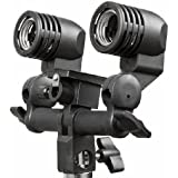 Fancierstudio DOUBLE AC Flash Light Stand Swivel Mount with Umbrella holder By Fancierstudio E27 Double