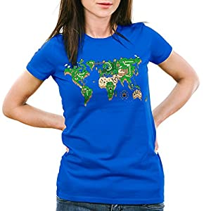 style3 Mario Mapamundi Camiseta para Mujer T-Shirt Videojuego videoconsola SNES n64