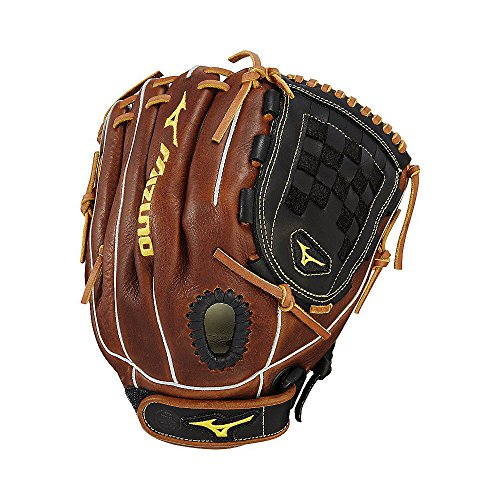 Mizuno Classic Fastpitch Series GCF1200F2 Infield/Pitcher Model Gloves, Black/Brown