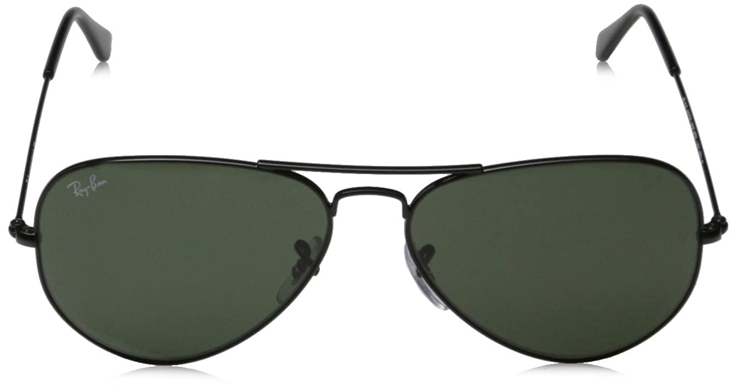 ray ban aviator black  amazon: ray ban 0rb3025 aviator metal non polarized sunglasses, black/ grey green, 58mm: ray ban: clothing