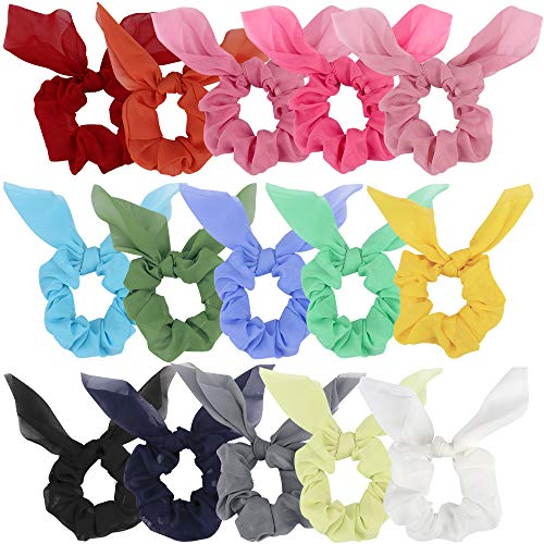 BAHABY 15 Pack Scrunchies for Hair Bow Scrunchies for Hair Hair Scrunchies for Women Rabbit Bunny Ear Scrunchies Bow Scrunchies Ponytail Holder Solid-colored Hair Scrunchies for Women - Rabbit Womens Bunny