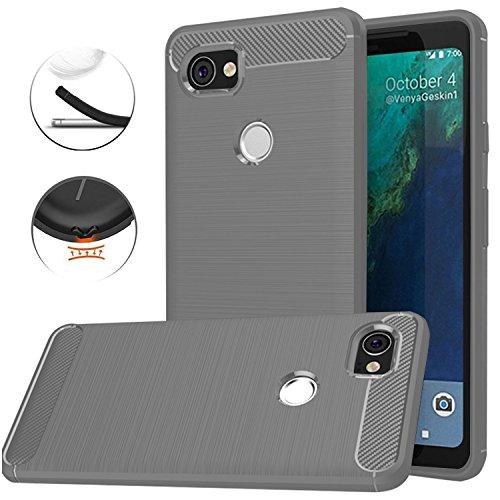 Google Pixel XL 2 Case, Google Pixel XL2 Case, Dretal Carbon Fiber Shock Resistant Brushed Texture Soft TPU Phone case Anti-fingerprint Flexible Full-body Protective Cover For Google Pixel 2 XL (Gray)