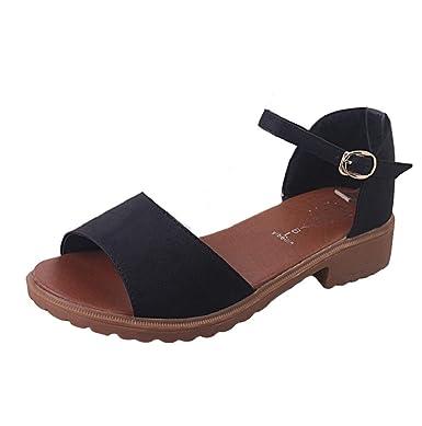 876e5cfad93e7 Women Shoe Ankle Strap Block Heel One Strap Beach Flip Flop Buckle Sandal  JHKUNO Black