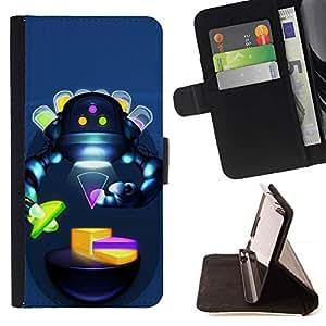 For Apple iPhone SE / iPhone 5 / iPhone 5S Case , Resumen Robot Humanoide Sci Fi mujer- la tarjeta de Crédito Slots PU Funda de cuero Monedero caso cubierta de piel