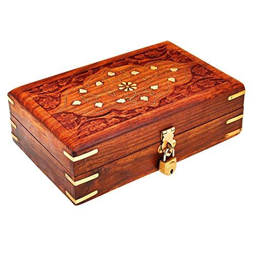 Birthday Gift Ideas Handmade Decorative Wooden Jewelry Box With Free Lock & Key Jewelry Organizer Keepsake Box Treasure Chest Trinket Holder Lock Box Watch Box 8 x 5 Inch Anniversary Gifts Her (Box Trinket Lock Small With)