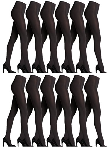 Opaque Pantyhose Spandex (Women's Opaque Tights, Bulk Pack, Comfortable Soft Nylon Leggings Pantyhose, 80 Denier, One Size/Queen Size (12 Pack Black, One Size (5'-6'/100-165lbs)))