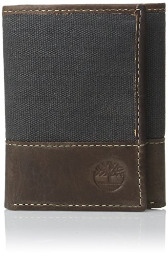 Timberland Mens Canvas - Timberland Men's Canvas & Leather Trifold Wallet, Blue, One Size