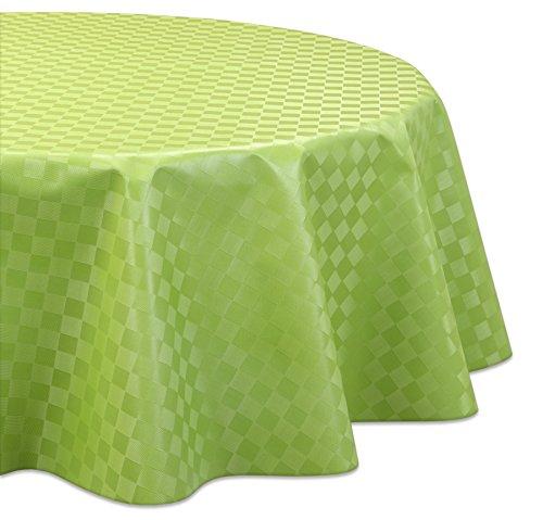 Wachstuchtischdecke OVAL und RUND Motiv u. Größe wählbar, Tischdecke abwischbar (Rund 140 cm Reliefdruck - Quader Grün)
