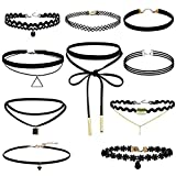 Coosmile 2016 New 10 Pieces Choker Necklace for Women Girls, Black Classic Velvet Stretch Gothic Tattoo Lace