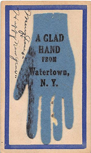 Watertown New York Novelty Greeting Felt Hand Antique Postcard J64119