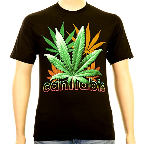Cannabis Reggae Color Lettering Rock Eagle T-Shirt Glow Weed THC Ganja