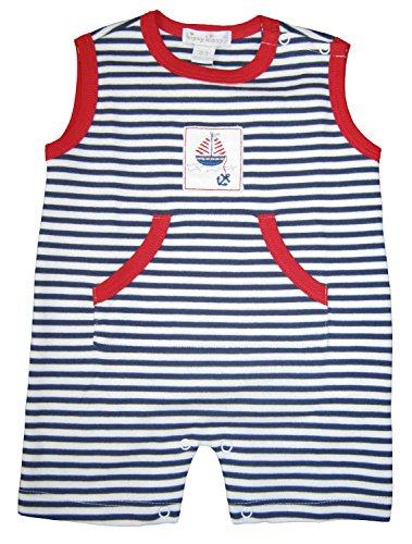 Kissy Kissy Baby-Boys Infant skysail Stripe Sleeveless Short Playsuit-White and Navy-6-9 Months