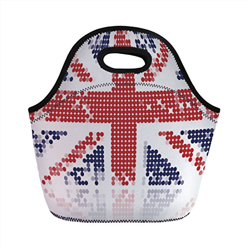 Neoprene Lunch Bag,British,Grunge United Kingdom Flag with Dot Circle Effects National English Display,White Red Indigo,for Kids Adult Thermal Insulated Tote Bags