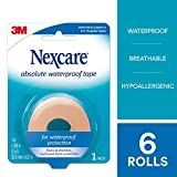 Nexcare Absolute Waterproof First Aid Tape, From the #1 Leader in U.S. Hospital Tapes, Flexes and Stretches with Your Body, 1-Inch x 5-Yard Roll, 6 Rolls