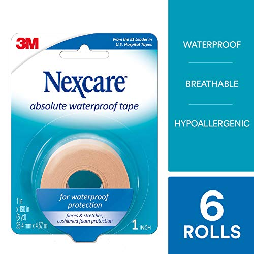 Nexcare Absolute Waterproof First Aid Tape, From the #1 Leader in U.S. Hospital Tapes, Flexes and Stretches with Your Body, 1-Inch x 5-Yard Roll, 6 ()